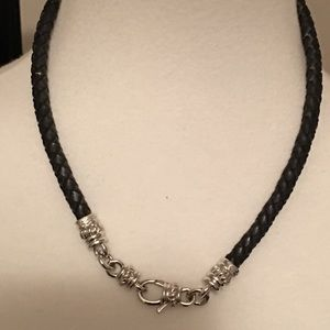 Judith Ripka Sterling Silver & Black Leather Cord
